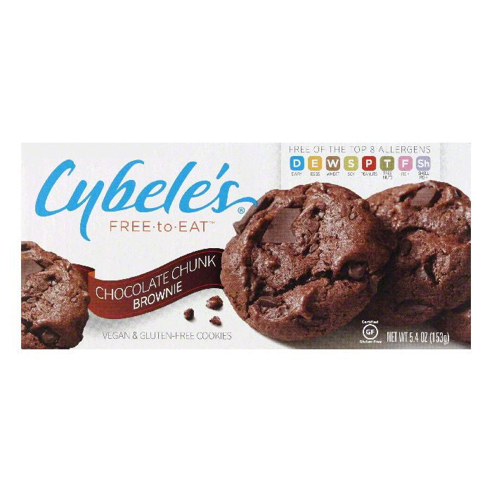 Cybeles Chocolate Chunk Brownie Vegan & Gluten Free Cookies, 5.4 Oz (Pack of 6)