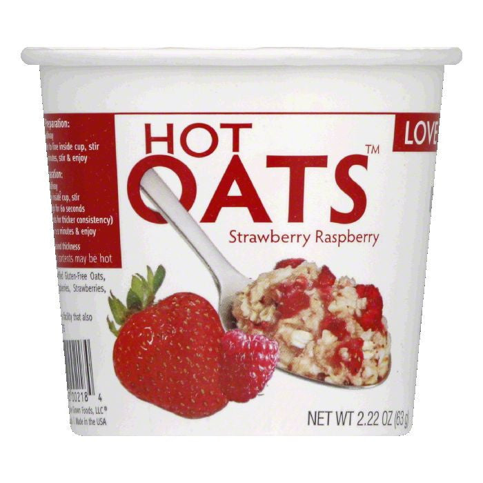 Love Grown Strawberry Raspberry Hot Oats, 2.22 Oz (Pack of 8)