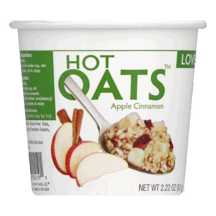 Love Grown Apple Cinnamon Hot Oats, 2.22 Oz (Pack of 8)