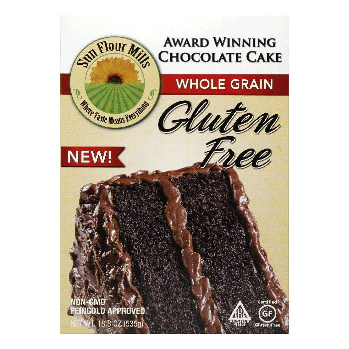 Sun Flour Mills Gluten Free Whole Grain Chocolate Cake, 18.8 Oz (Pack of 6)