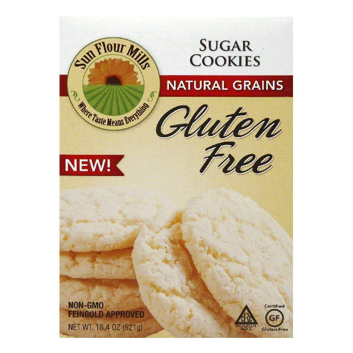 Sun Flour Mills Gluten Free Natural Grains Sugar Cookies, 18.4 Oz (Pack of 6)