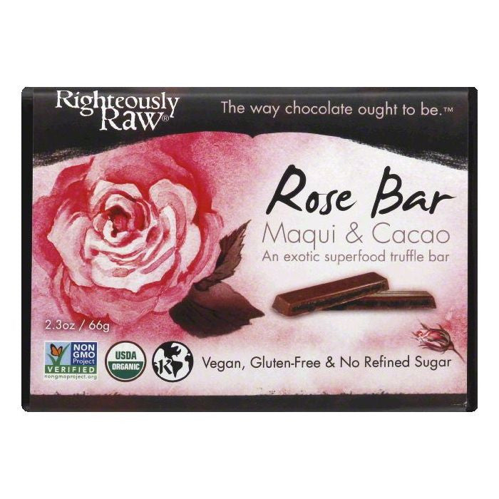 Righteously Raw Maqui & Cacao Rose Bar, 2.3 OZ (Pack of 12)