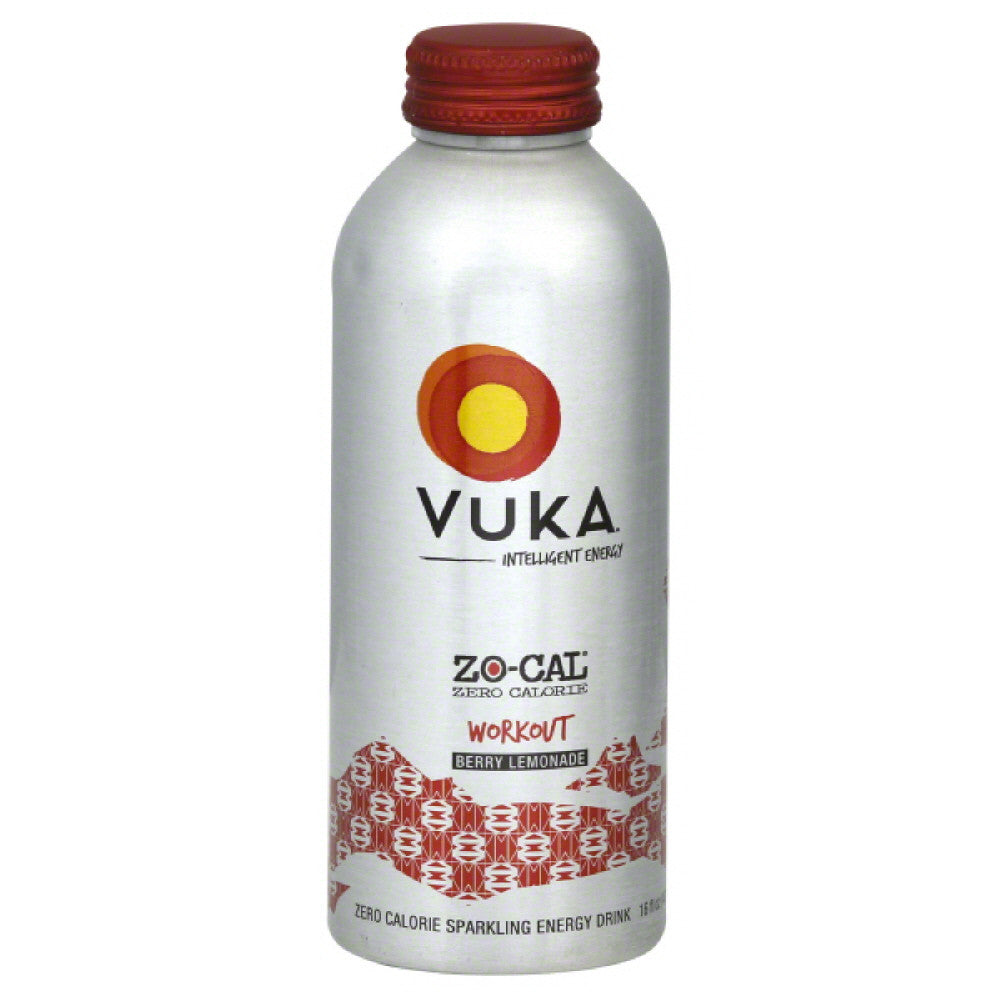 Vuka Workout Berry Lemonade Zero Calorie Sparkling Energy Drink, 16 Fo (Pack of 12)