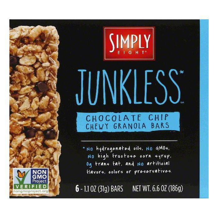 Simply Eight Chocolate Chip Junkless Chewy Granola Bars, 6 ea (Pack of 8)