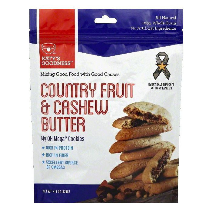 Katys Goodness Country Fruit & Cashew Butter Cookies, 4.8 OZ (Pack of 6)