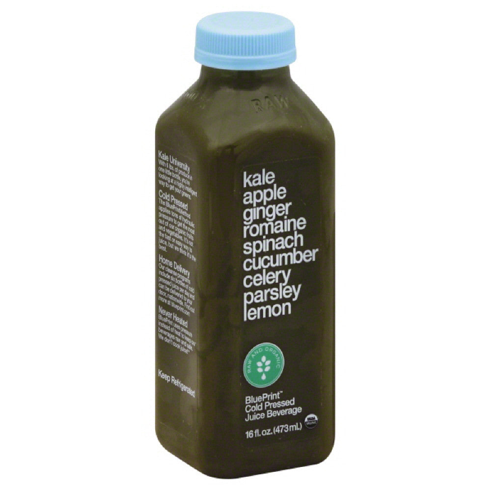 BluePrint Kale Apple Ginger Romaine Spinach Cucumber Celery Parsley Lemon Cold Pressed Juice Beverage, 16 Oz (Pack of 6)