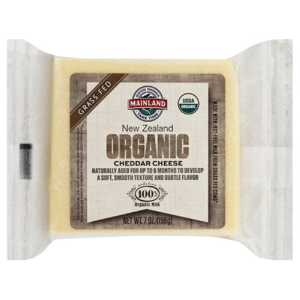 Mainland Cheddar Organic Cheese, 7 Oz (Pack of 12)
