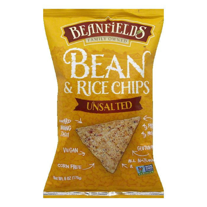 Beanfields Unsalted Bean and Rice Chips, 6 Oz (Pack of 12)