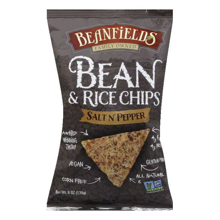 Beanfields Salt N' Pepper Bean and Rice Chips, 6 Oz (Pack of 12)