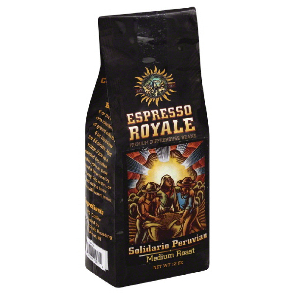 Espresso Royale Solidario Peruvian Medium Roast Coffee, 12 Oz (Pack of 6)