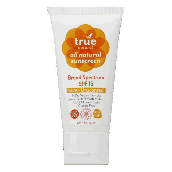 TRUE Face Unscented Broad Spectrum SPF 15 Sunscreen, 2 FO