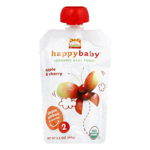 Happy Baby Cherry and Apples Pouch Stage 2, 3.5 OZ (Pack of 16)