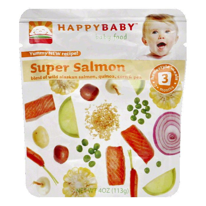 Happy Baby Super Salmon Pouch Stage 3, 4 OZ (Pack of 16)