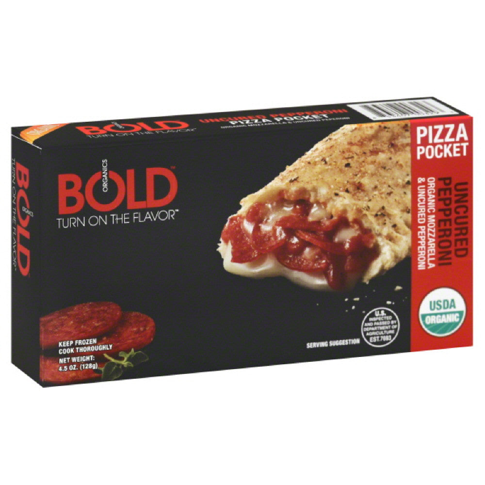 Bold Organics Uncured Pepperoni Pizza Pocket, 4.5 Oz (Pack of 12)
