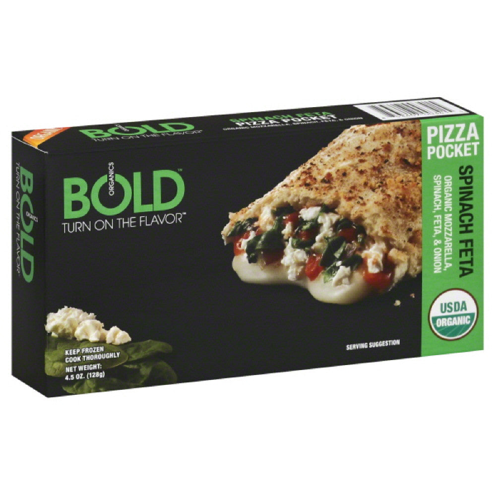 Bold Organics Spinach Feta Pizza Pocket, 4.5 Oz (Pack of 12)