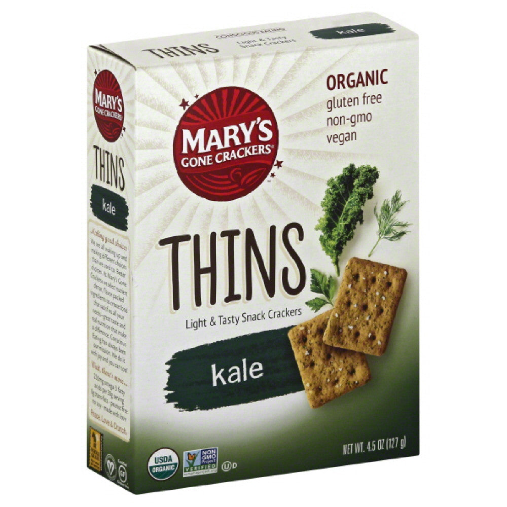 Marys Gone Crackers Kale Thins, 4.5 Oz (Pack of 6)