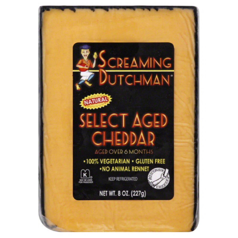Screaming Dutchman Select Aged Cheddar Cheese, 8 Oz (Pack of 12)