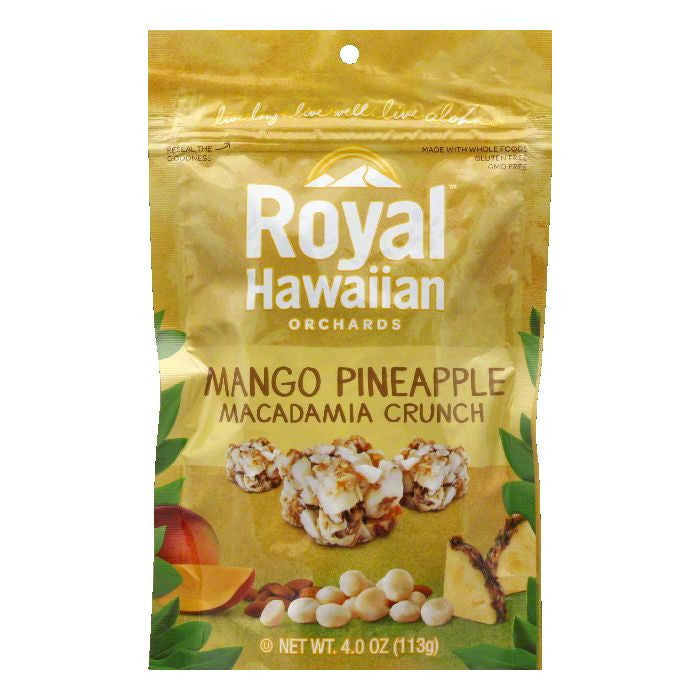 Royal Hawaiian Orchards Mango Pineapple Macademia Crunches, 4 OZ (Pack of 6)