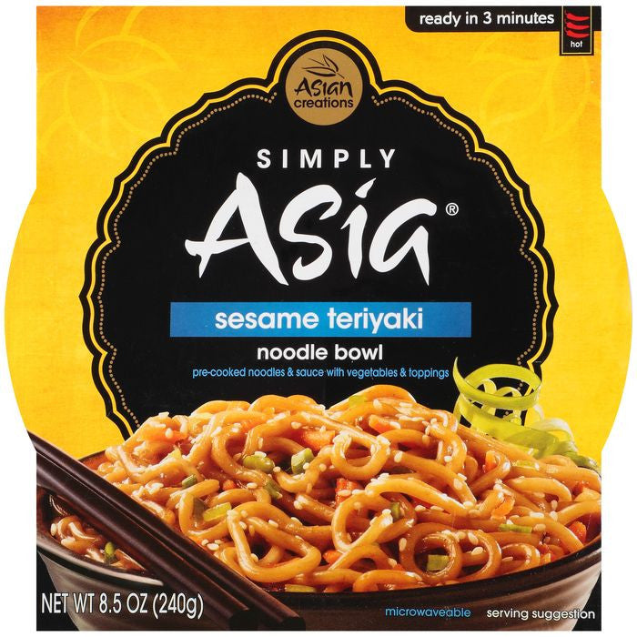 Simply Asia Noodle Bowl Sesame Teriyaki 8.5 Oz Sleeve (Pack of 6)