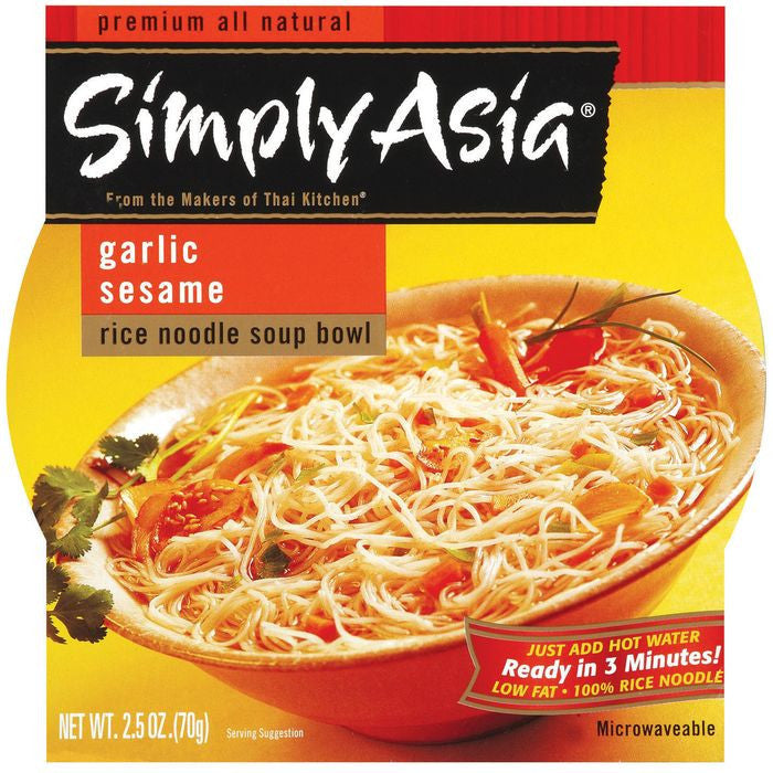 Simply Asia SA Soup Bowl Garlic Sesame Rice Noodle Soup Bowls 2.5 Oz  (Pack of 6)