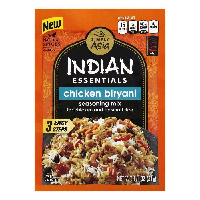 Simply Asia Mild Chicken Biryani Seasoning Mix, 1.1 Oz (Pack of 12)
