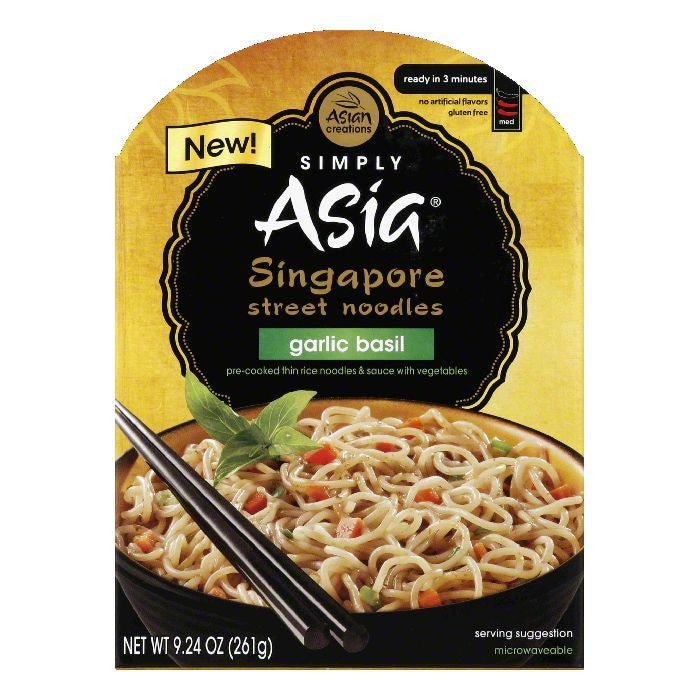 Simply Asia Garlic Basil Medium Singapore Street Noodles, 9.24 Oz (Pack of 6)