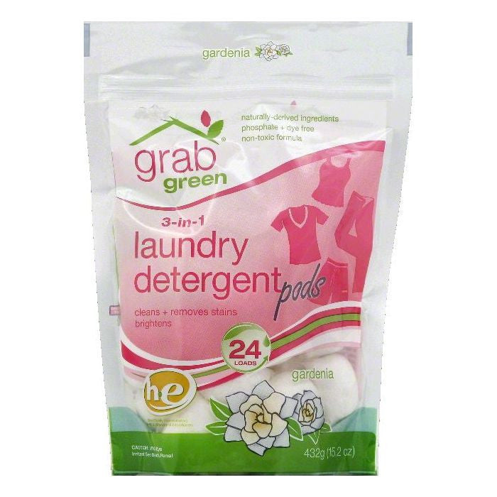 Grab Green Gardenia Pods 3-in-1 Laundry Detergent, 15.2 OZ (Pack of 6)