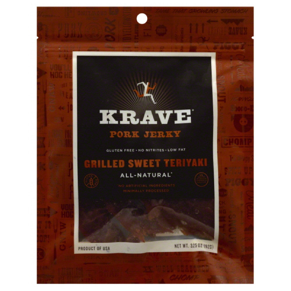 Krave Grilled Sweet Teriyaki Pork Jerky, 3.25 Oz (Pack of 8)