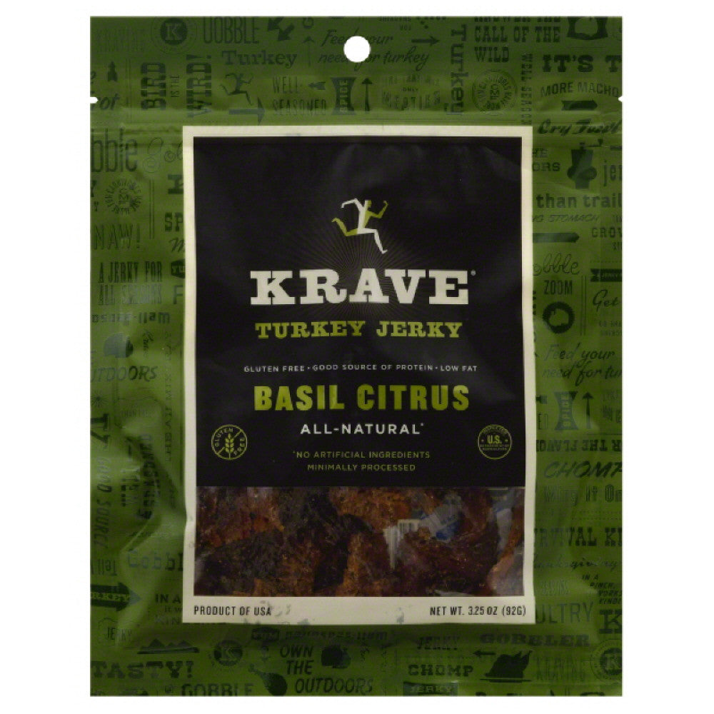 Krave Basil Citrus Turkey Jerky, 3.25 Oz (Pack of 8)