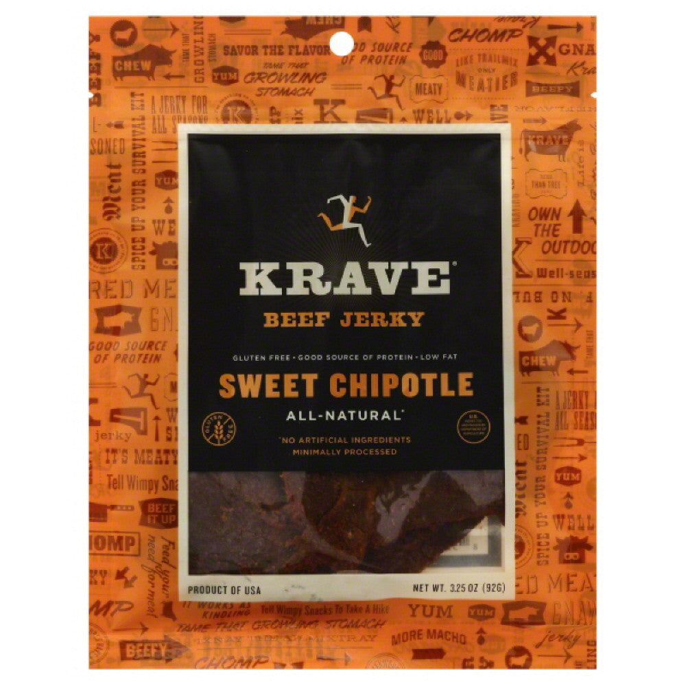 Krave Sweet Chipotle Beef Jerky, 3.25 Oz (Pack of 8)
