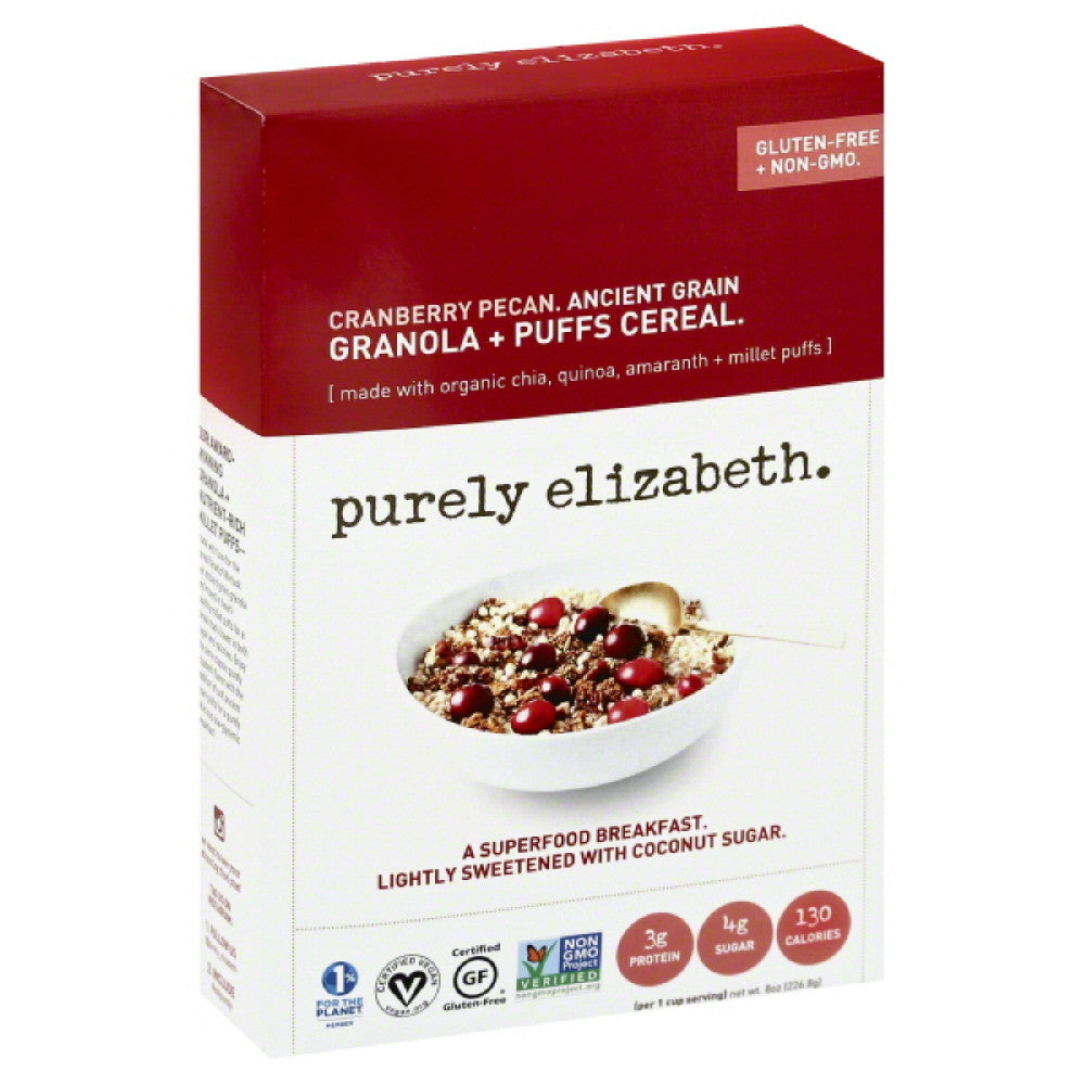 Purely Elizabeth Cranberry Pecan Ancient Grain Granola + Puffs Cereal, 8 Oz (Pack of 6)
