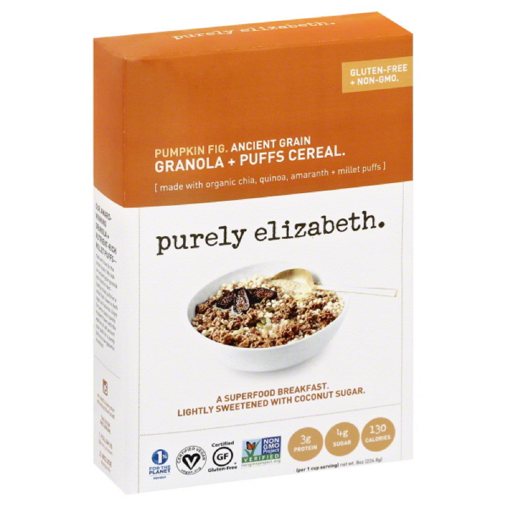 Purely Elizabeth Pumpkin Fig Ancient Grain Granola + Puffs Cereal, 8 Oz (Pack of 6)