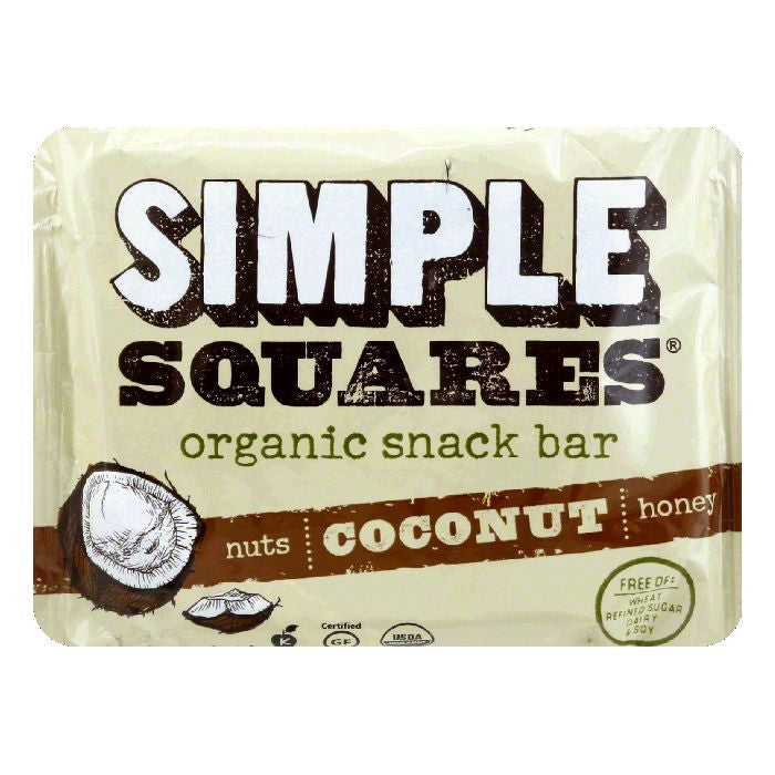 Simple Squares Bar Snack Coconut, 1.6 OZ (Pack of 12)