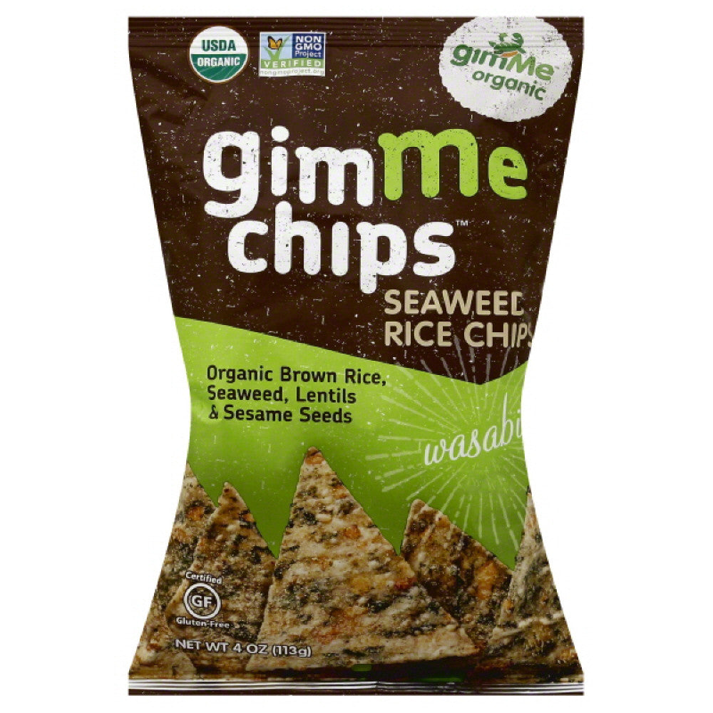 Gimme Wasabi Seaweed Rice Chips, 4 Oz (Pack of 12)