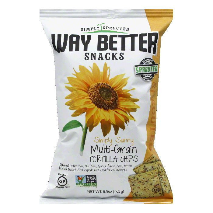 Way Better Snacks Simply Sunny Multigrain Tortilla Chips, 5.5 OZ (Pack of 12)