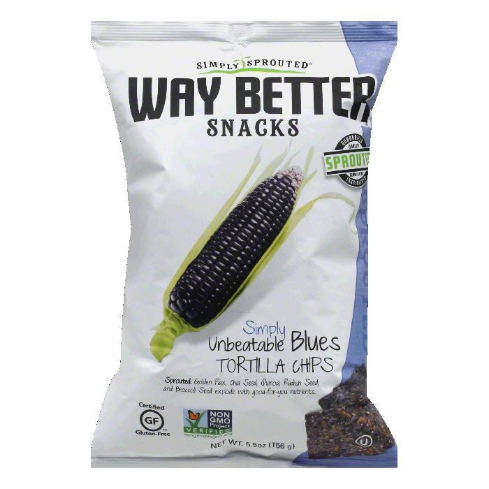 Way Better Snacks Simply Unbeatable Blues Tortilla Chips, 5.5 OZ (Pack of 12)