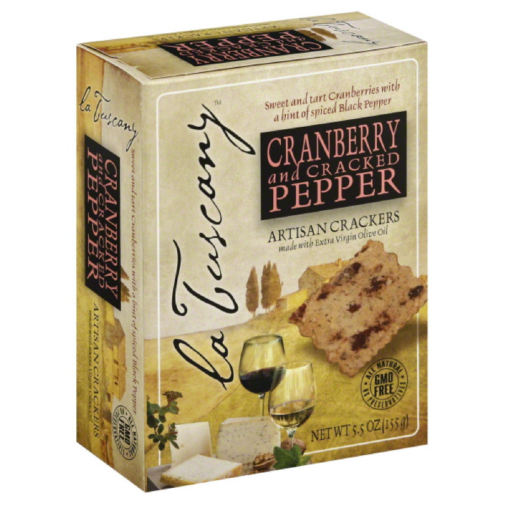 La Tuscany Cranberry and Cracked Pepper Artisan Crackers, 5.5 Oz (Pack of 15)