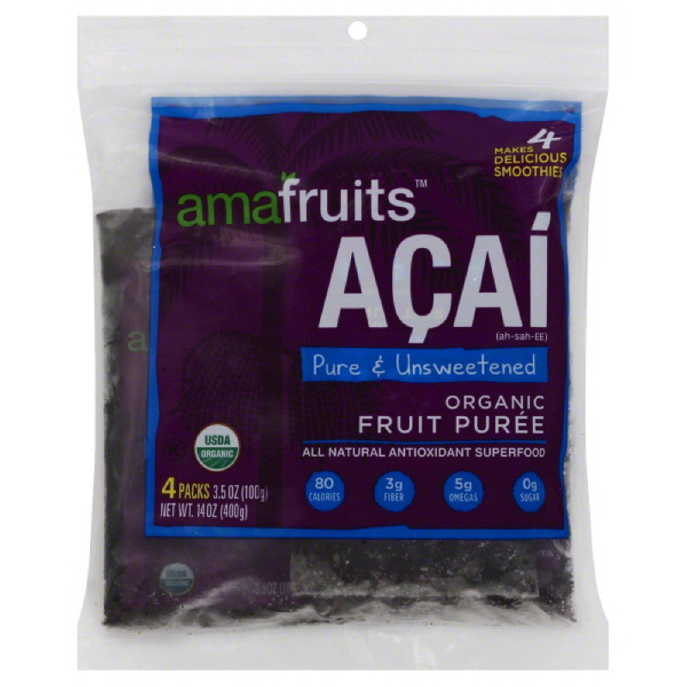 Amafruits Acai Pure & Unsweetened Organic Fruit Puree, 14 Oz (Pack of 8)