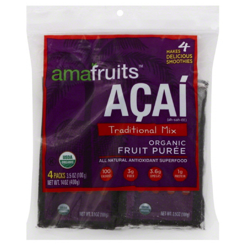 Amafruits Acai Traditional Mix Organic Fruit Puree, 14 Oz (Pack of 8)