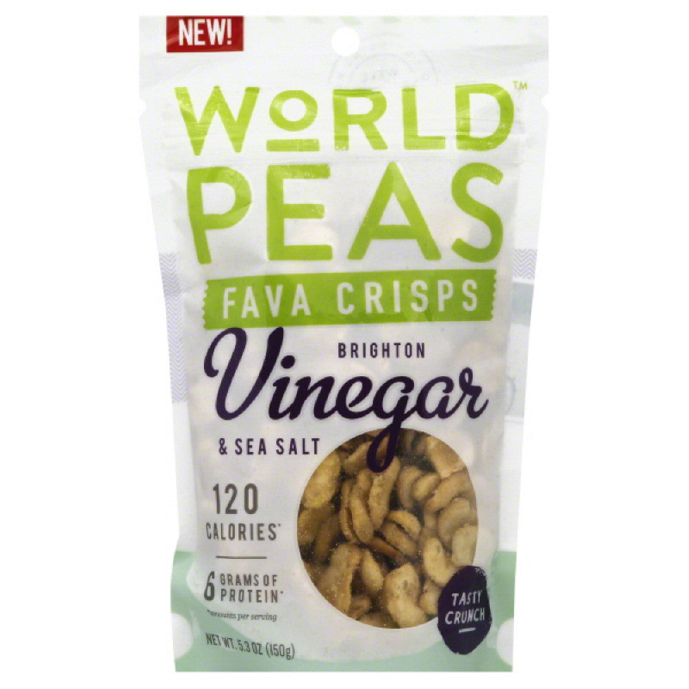 World Peas Brighton Vinegar & Sea Salt Fava Crisps, 5.3 Oz (Pack of 6)