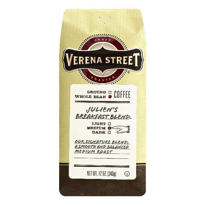 Verena Street Julien's Breakfast Blend Medium Whole Bean Coffee, 12 OZ (Pack of 6)