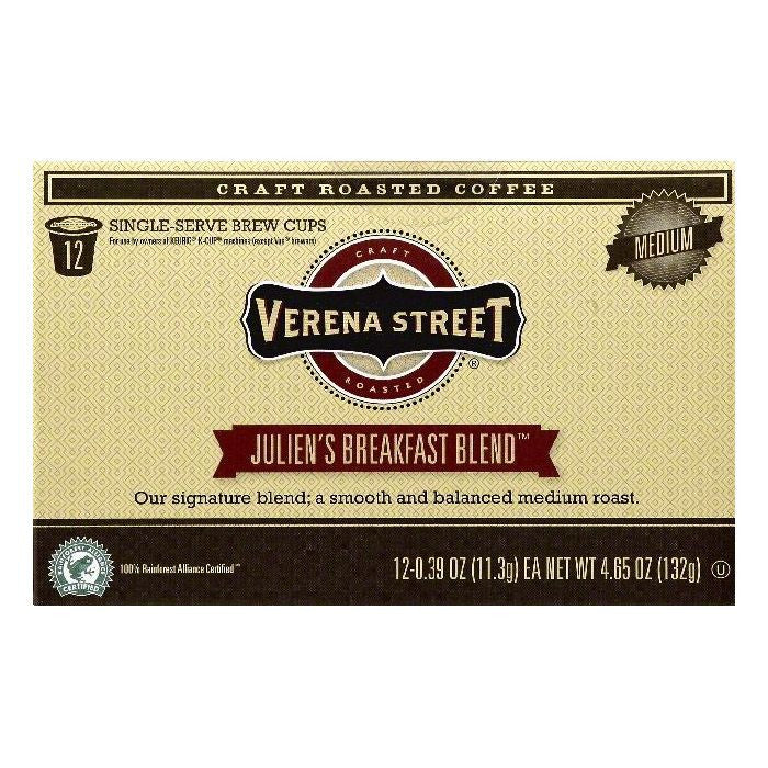 Verena Street Single-Serve Brew Cups Julien's Breakfast Blend Medium Coffee, 12 ea (Pack of 6)