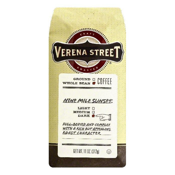 Verena Street Nine Mile Sunset Dark Whole Bean Coffee, 11 OZ (Pack of 6)