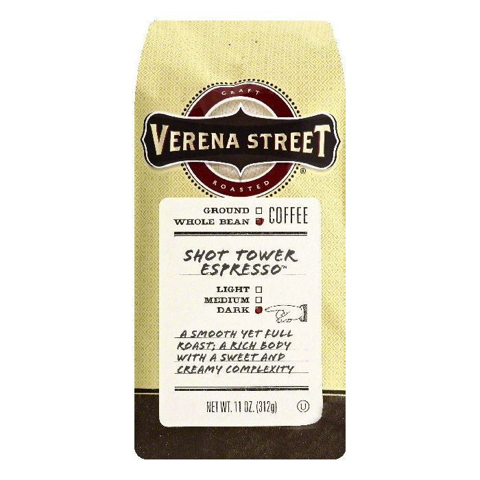 Verena Street Shot Tower Espresso Dark Whole Bean Coffee, 11 OZ (Pack of 6)