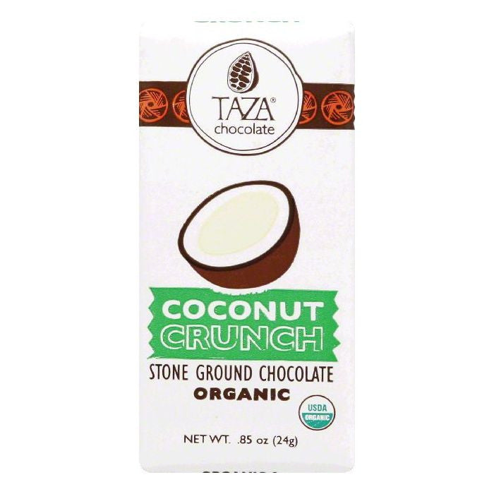Taza Coconut Crunch Organic Stone Ground Dark Chocolate, 0.85 OZ (Pack of 20)