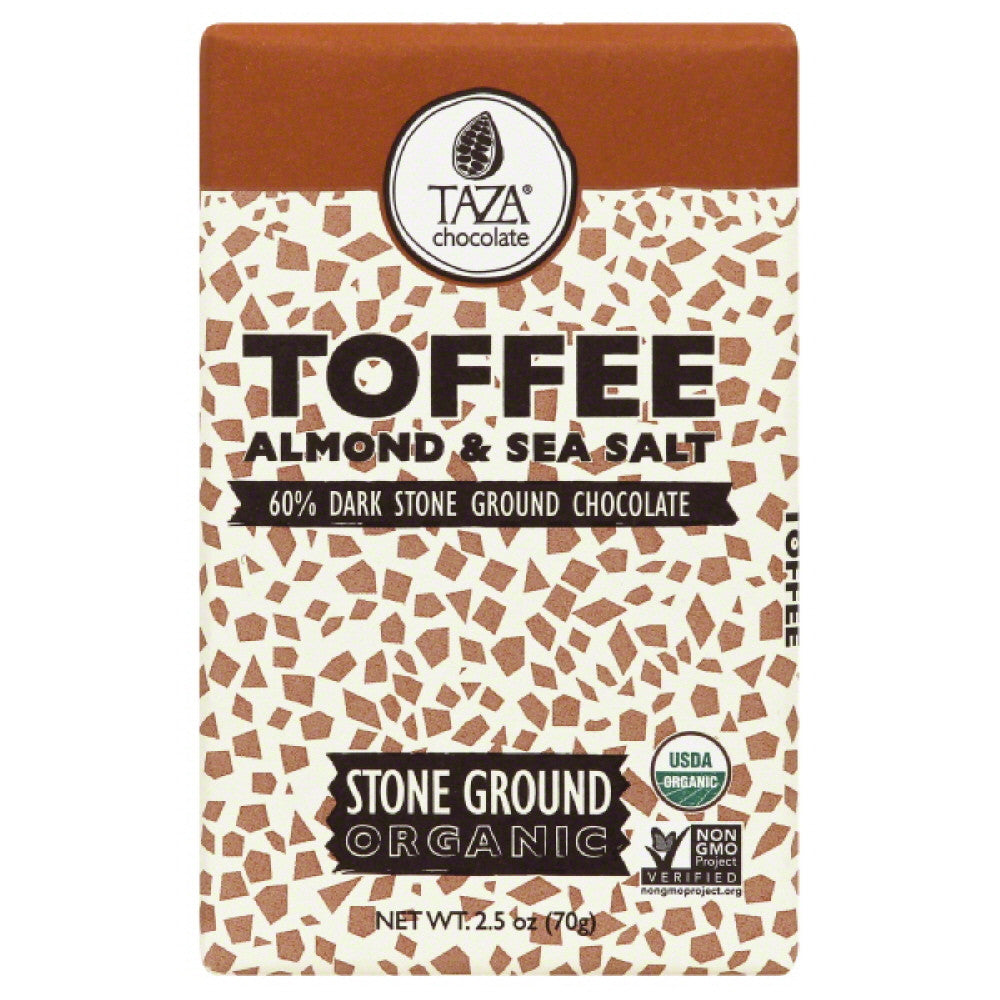 Taza Toffee Almond & Sea Salt Organic Stone Ground Dark Chocolate, 2.5 Oz (Pack of 10)
