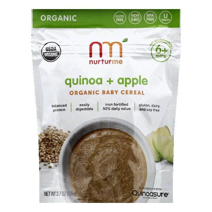 NurturMe 6 + Mths Quinoa & Apple Organic Baby Cereal, 3.7 OZ (Pack of 6)