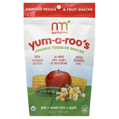 NurturMe 12+ Months Organic Pea + Sweet Corn + Apple Toddler Snacks, 1 Oz (Pack of 6)