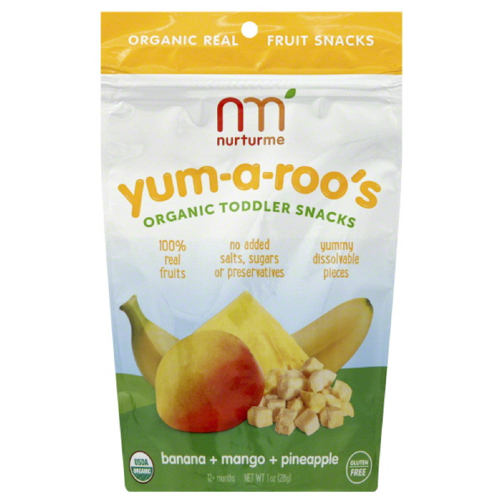 NurturMe 12+ Months Organic Banana + Mango + Pineapple Toddler Snacks, 1 Oz (Pack of 6)