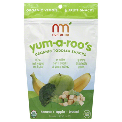 NurturMe 12+ Months Organic Banana + Apple + Broccoli Toddler Snacks, 1 Oz (Pack of 6)
